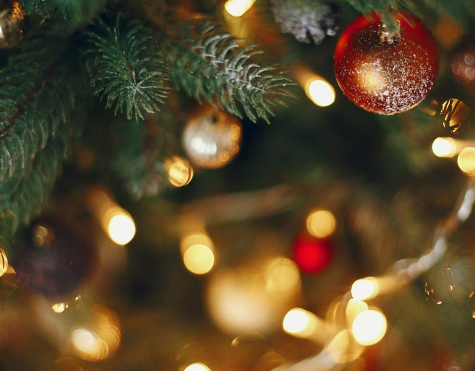 Closeup of Christmas tree lights and ornaments