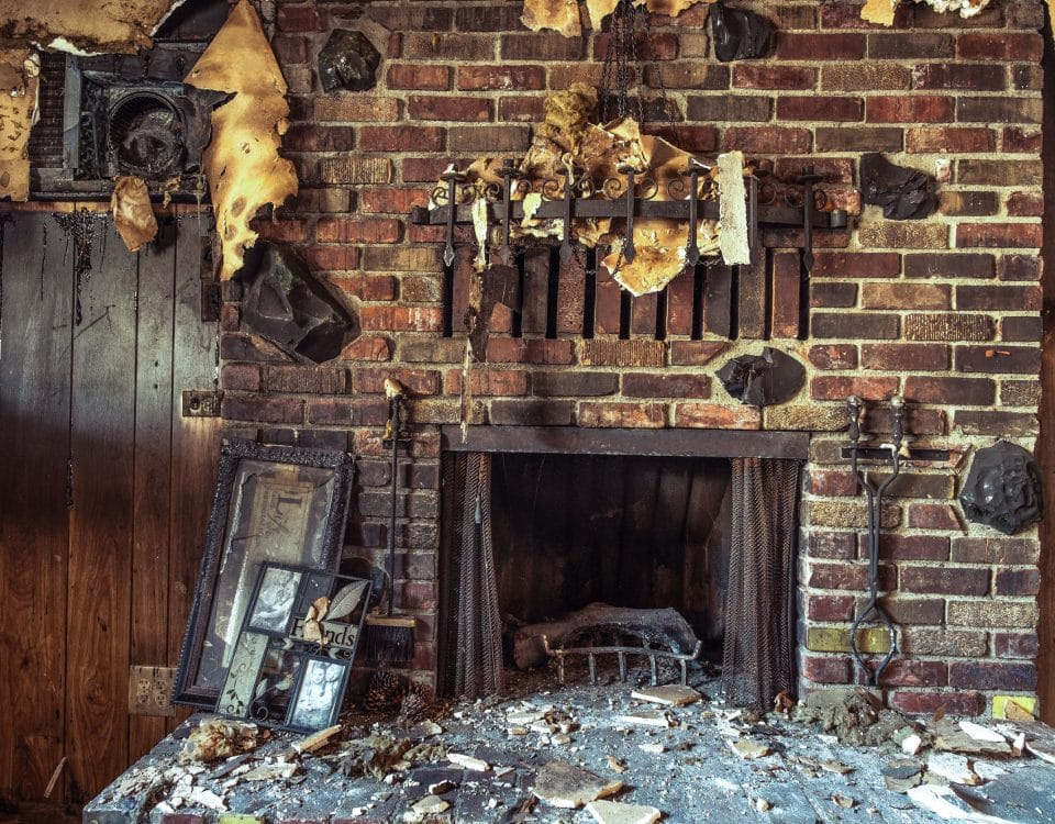Fire and smoke damaged furniture in a single family home