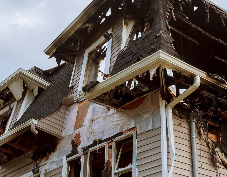 Exterior of a home after a fire