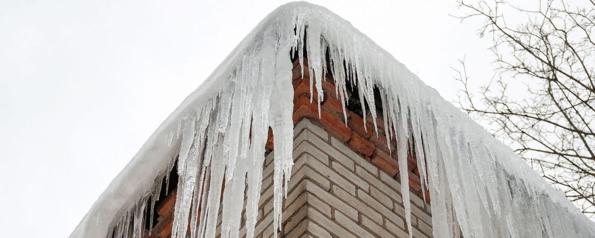 Icicles hanging from home roof