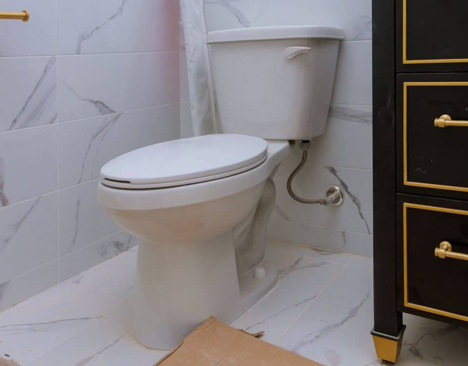 Toilet in bathroom of home