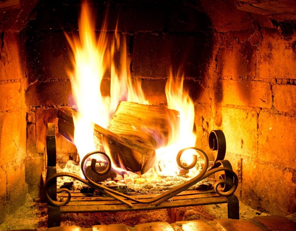 Home Fire burning in a fireplace